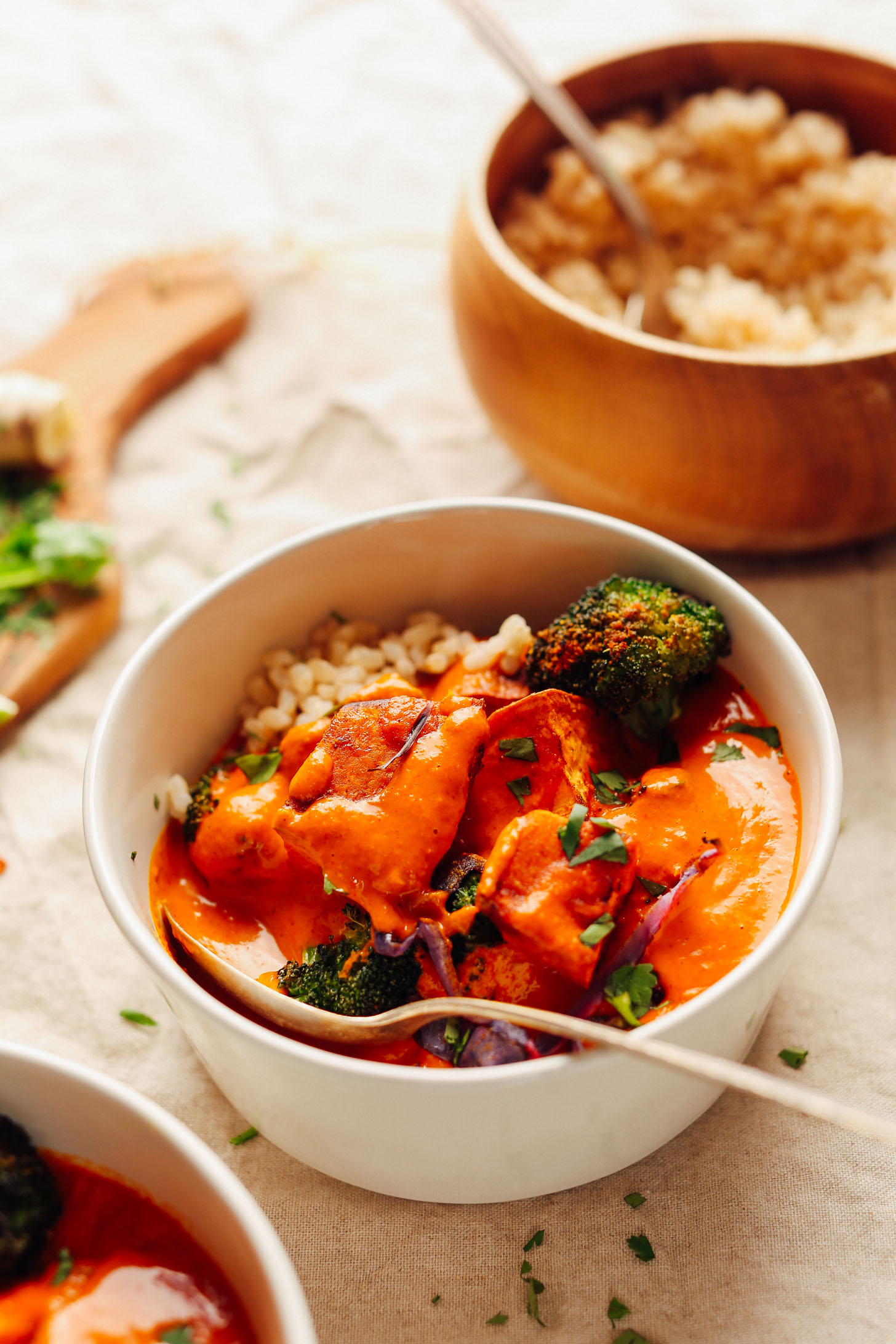 Close up shot of a bowl of our vegan gluten-free Rich Red Curry with Roasted Vegetables recipe