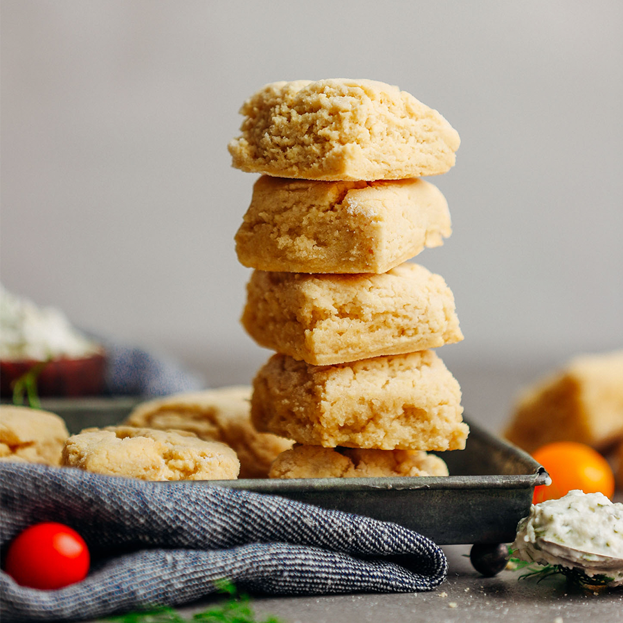 Tray with a tall stack of Vegan Gluten-Free Biscuits made in 1 bowl