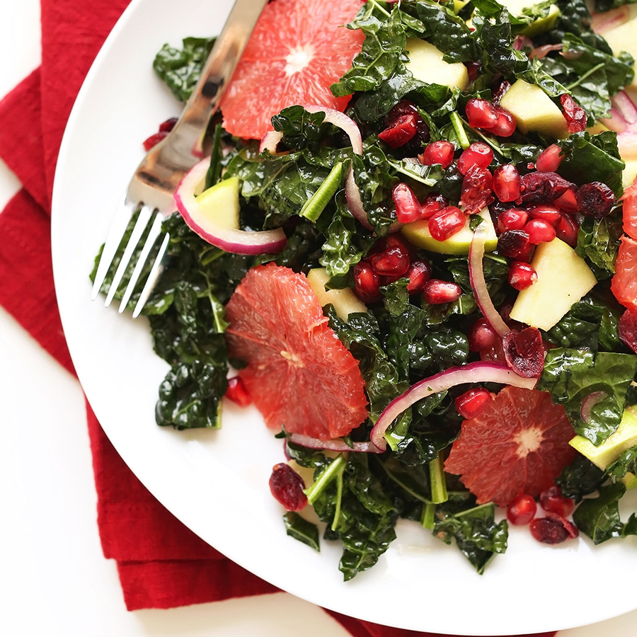 Big plate filled with our Citrus Kale Salad recipe