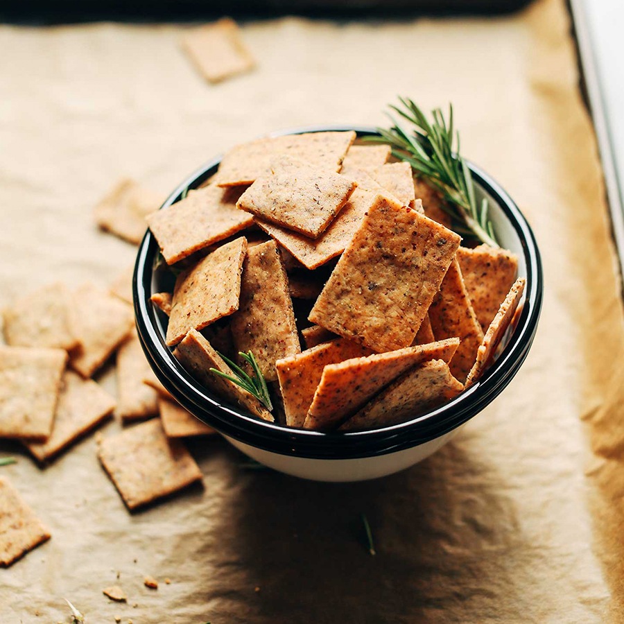 Bowl of our easy Vegan Gluten-Free Crackers recipe