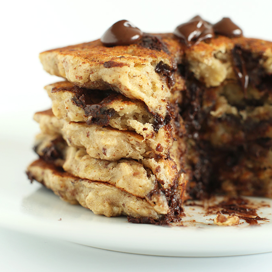 Plate of our delicious and easy Chocolate Chip Oatmeal Cookie Pancakes
