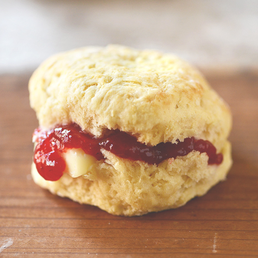 Vegan Gluten-Free Biscuit with jam and vegan butter oozing out