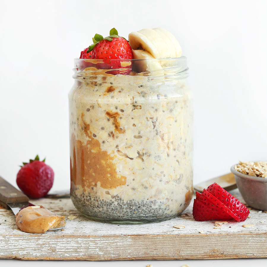 Jar of Peanut Butter Overnight Oats for our Easy Vegan Christmas Breakfast Ideas post