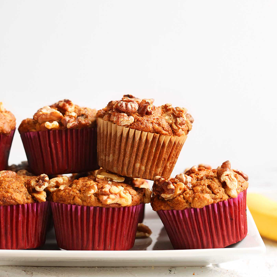 Plate filled with a batch of our Vegan Gluten-Free Banana Nut Muffins recipe