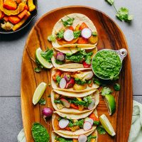 Platter of Vegetable Tacos with Chimichurri