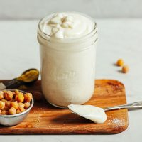 Jar of homemade Vegan Mayo made with aquafaba