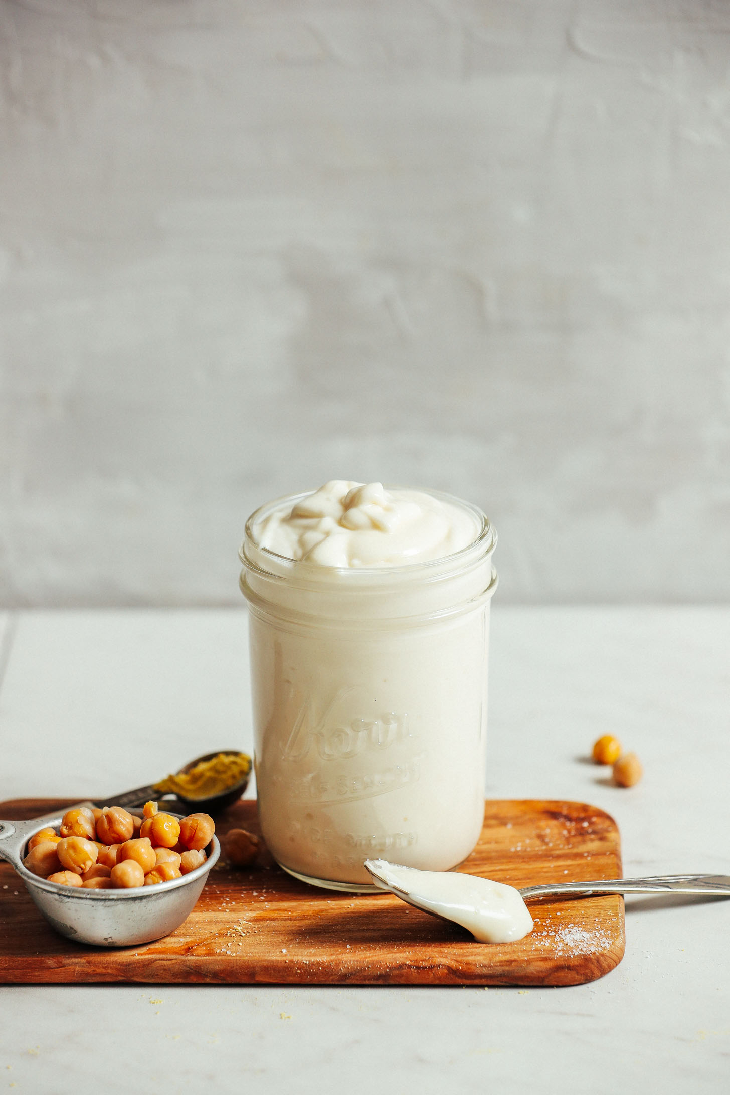 Jar of our homemade vegan mayonnaise recipe
