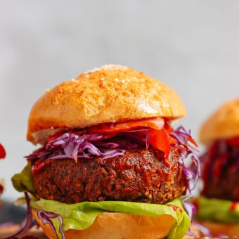 Close up shot of a BBQ Black Bean Burger for this plant-based meal