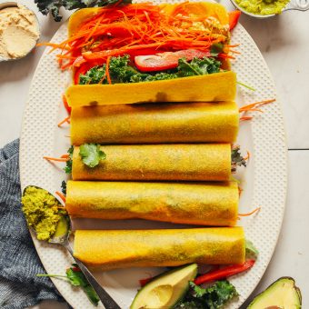 Platter of Coconut Wraps showcasing all the plant-based goodness on the inside