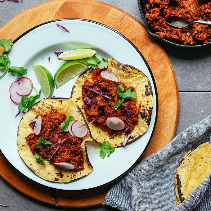 Small skillet and plate of Vegan Barbacoa for our roundup of Plant-Based 1-Pot Dinners