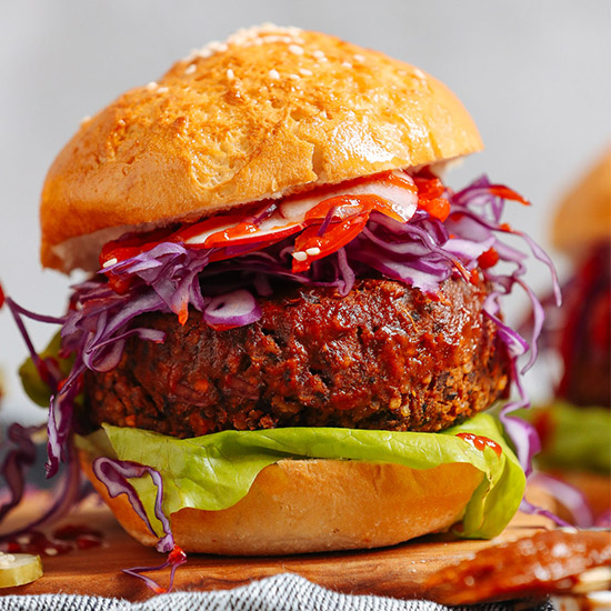 AMAZING BBQ Black Bean Burgers! 10 wholesome ingredients, BIG flavor, so satisfying #vegan #glutenfree #burger #plantbased #recipe #minimalistbaker