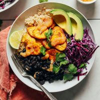 Big bowl of our Black Bean Plantain Bowl recipe