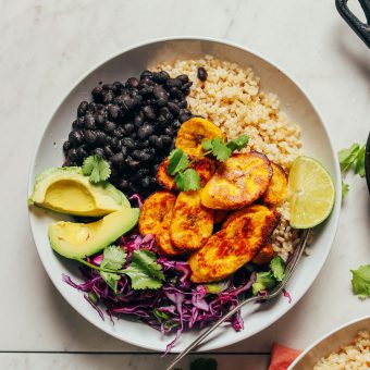 Fiber- and protein-rich ingredients make up this meal of Black Bean Plantain Bowls displayed here
