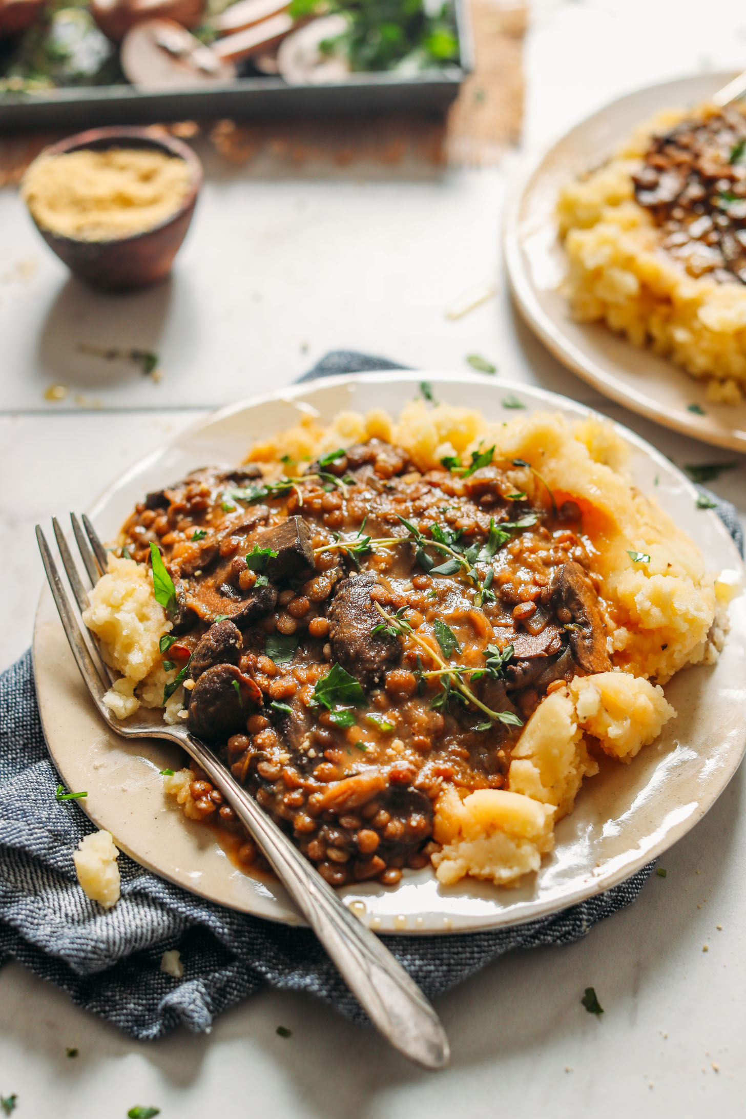 DELICIOUS Lentil Mushroom Stew over Mashed Potatoes! BIG flavor, 10 ingredients, SUPER hearty #vegan #glutenfree #potatoes #lentils #plantbased #minimalistbaker