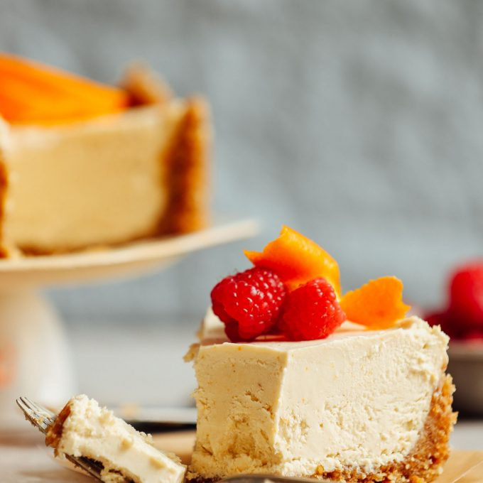 Taking a bite of vegan and gluten-free Coconut Yogurt Cheesecake