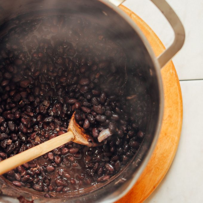 Making a batch of Easy 1-Pot Black Beans for a healthy dinner