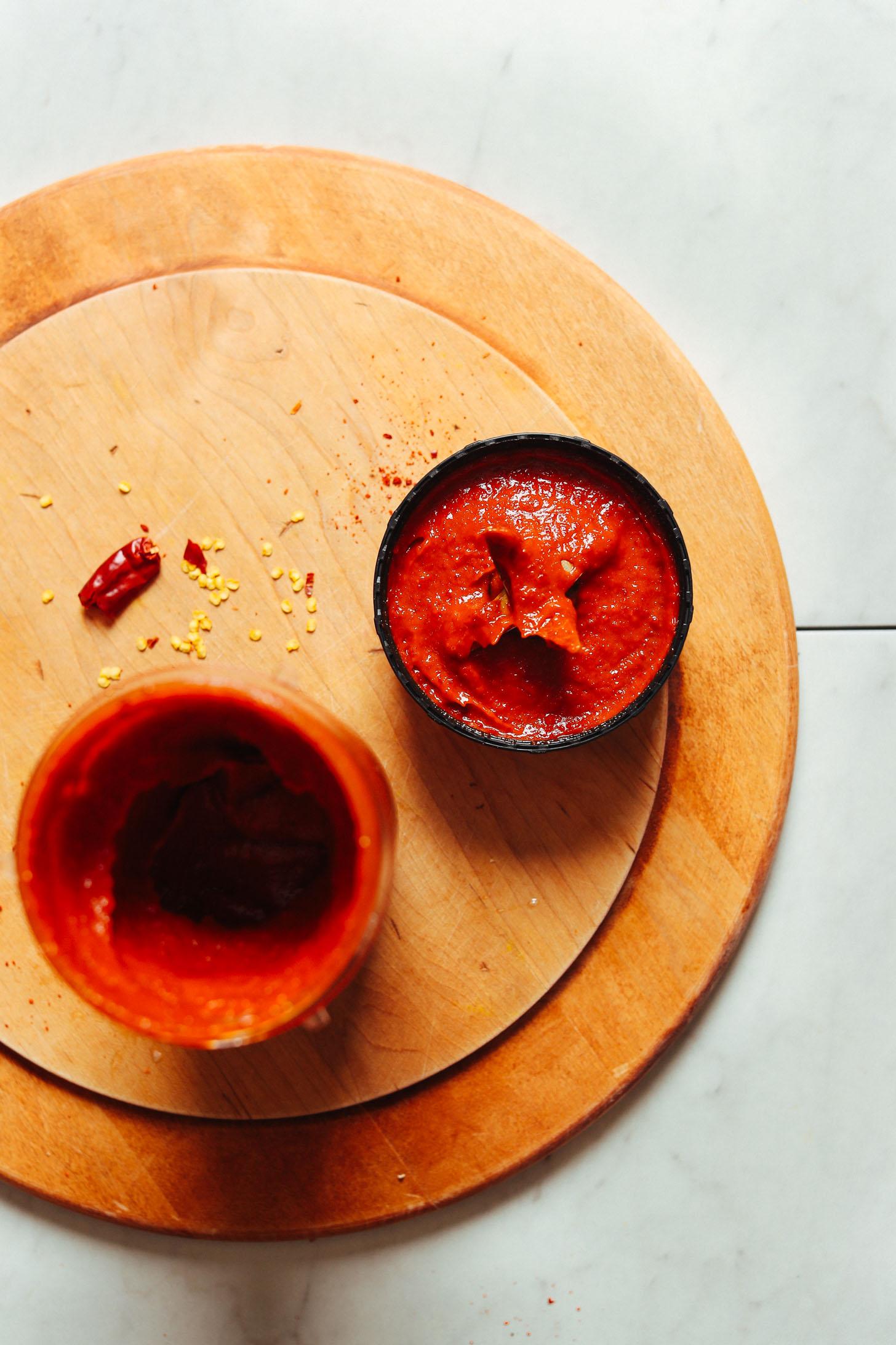 Open blender showing the easy to make Korean-Inspired Gochujang