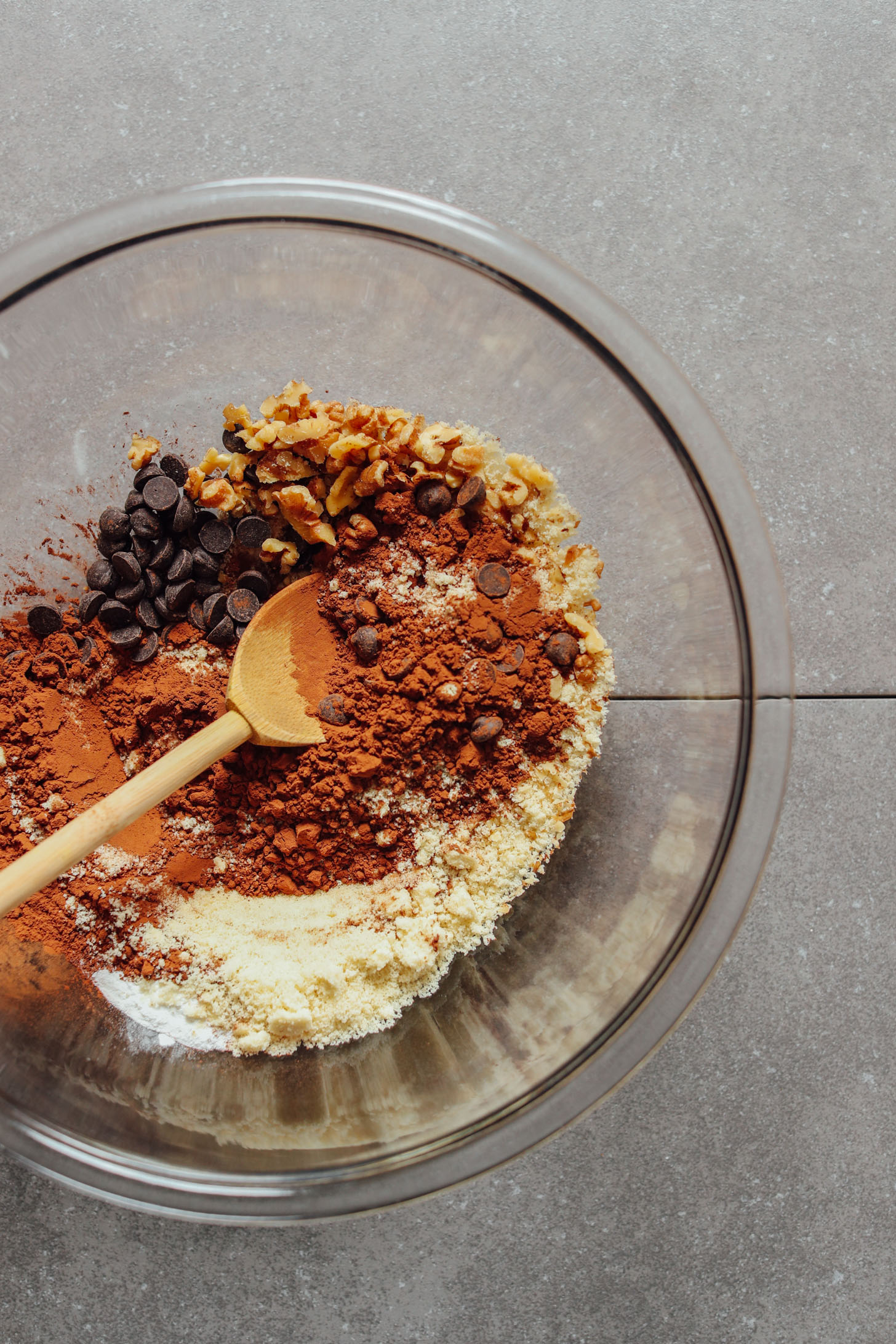 Mixing bowl with dry ingredients for making these decadent Vegan Brownie Cookies