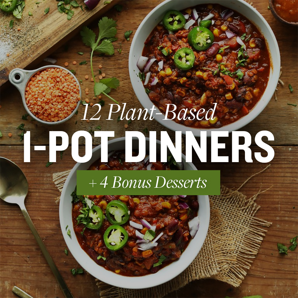 Bowls of lentil chili with text overlaid saying 12 Plant-Based 1-Pot Dinners