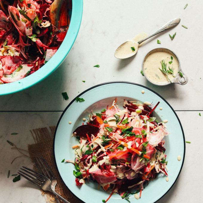 Plate of healthy Super Cleansing Slaw with Rosemary Tahini Dressing