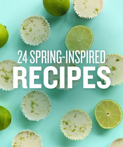 Mini Key Lime Pies on a bright blue background with text overlaid saying 24 Spring-Inspired Recipes