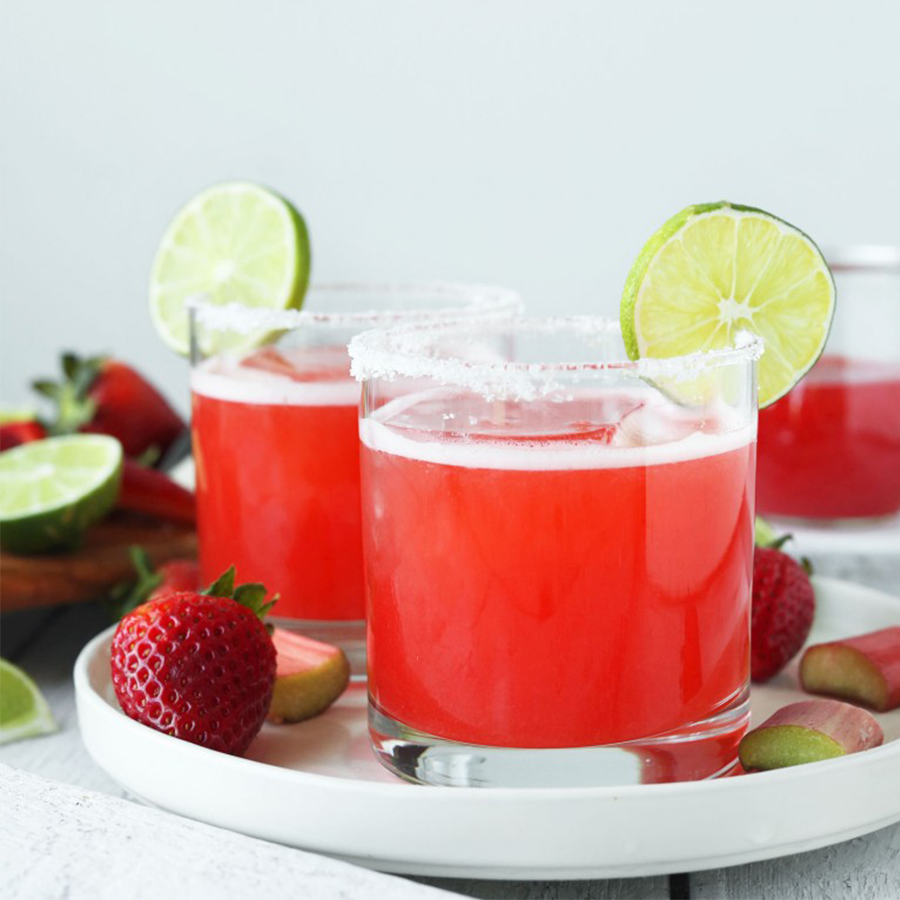 Glasses of our Strawberry Rhubarb Margaritas for our Spring-Inspired Recipes roundup