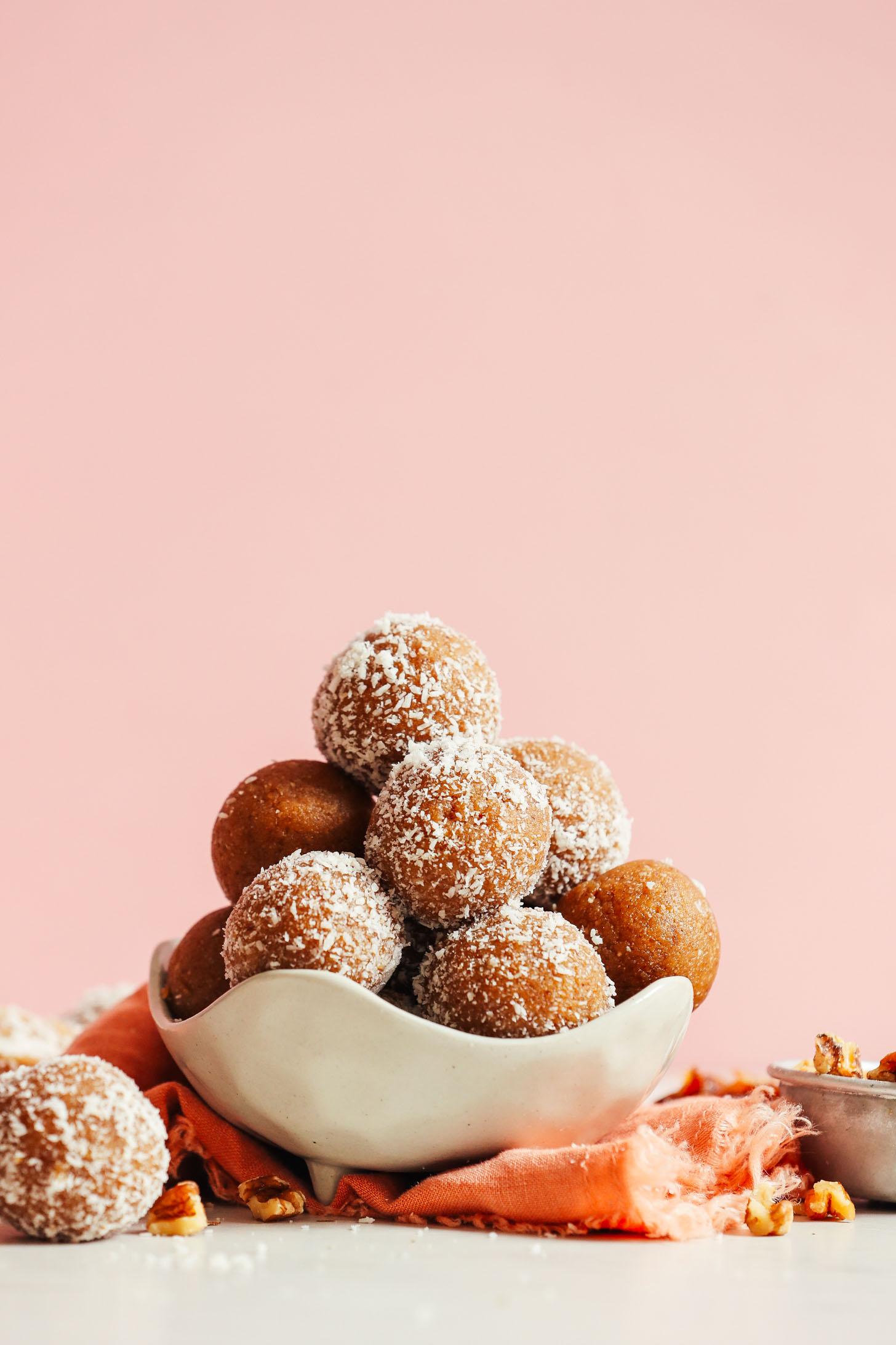Bowl of our delicious date-sweetened vegan No Bake Vanilla Cake Bites