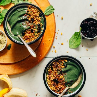 Two Peanut Butter Banana Super Green Smoothie Bowls for an antioxidant-packed vegan breakfast