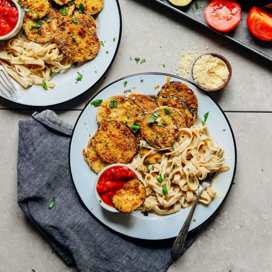 Plates of Crispy Eggplant Parmesan for our 20 Best Plant-Based Dinner Recipes roundup