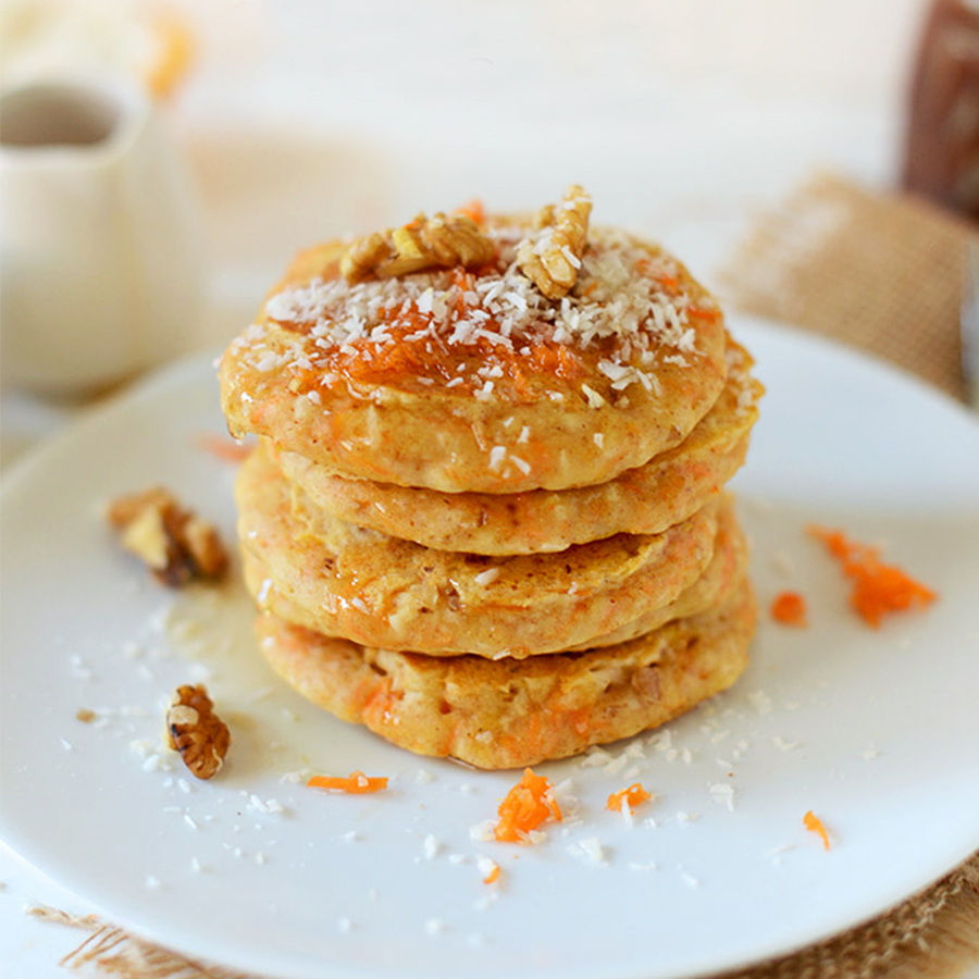 Stack of carrot cake pancakes for our roundup of 12 Easy Vegan Easter Treats