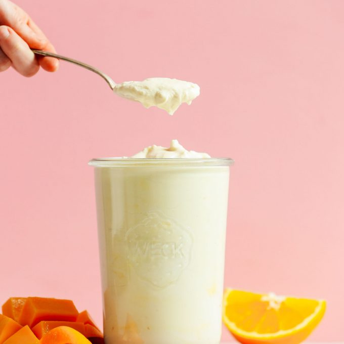 Grabbing a spoonful of delicious homemade vegan coconut yogurt