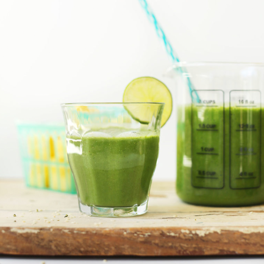 Glasses of our Ginger Green Smoothie for a Spring-Inspired Recipe