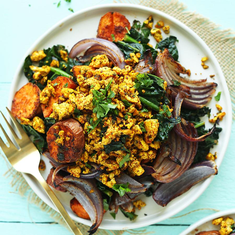 Big plate of Savory Tofu Scramble for our Best Vegan Breakfast Recipes