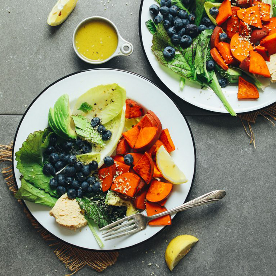 Plate of our Breakfast Salad for our roundup of Best Vegan Breakfast Recipes