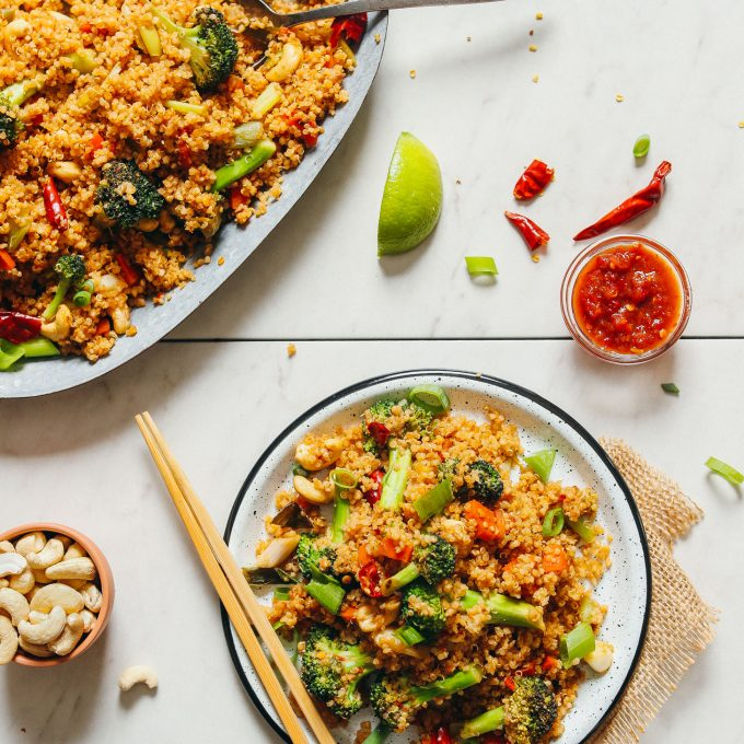 Platter and serving of vegan quinoa fried rice