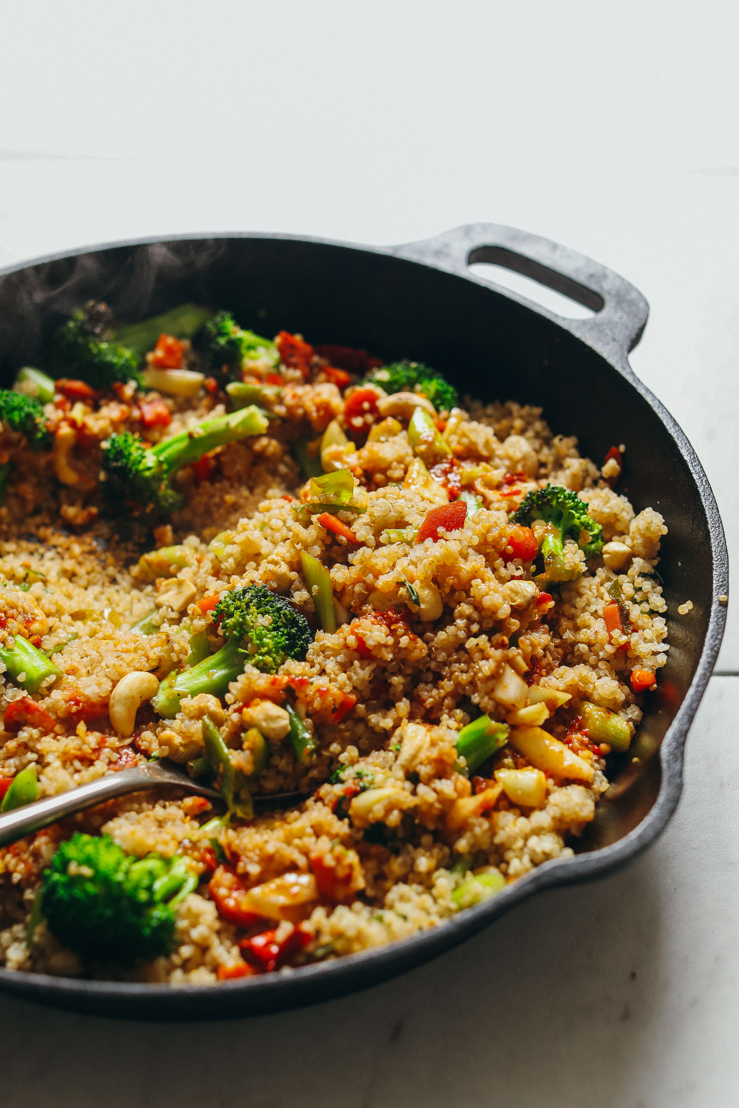 hot skillet with vegan quinoa fried rice