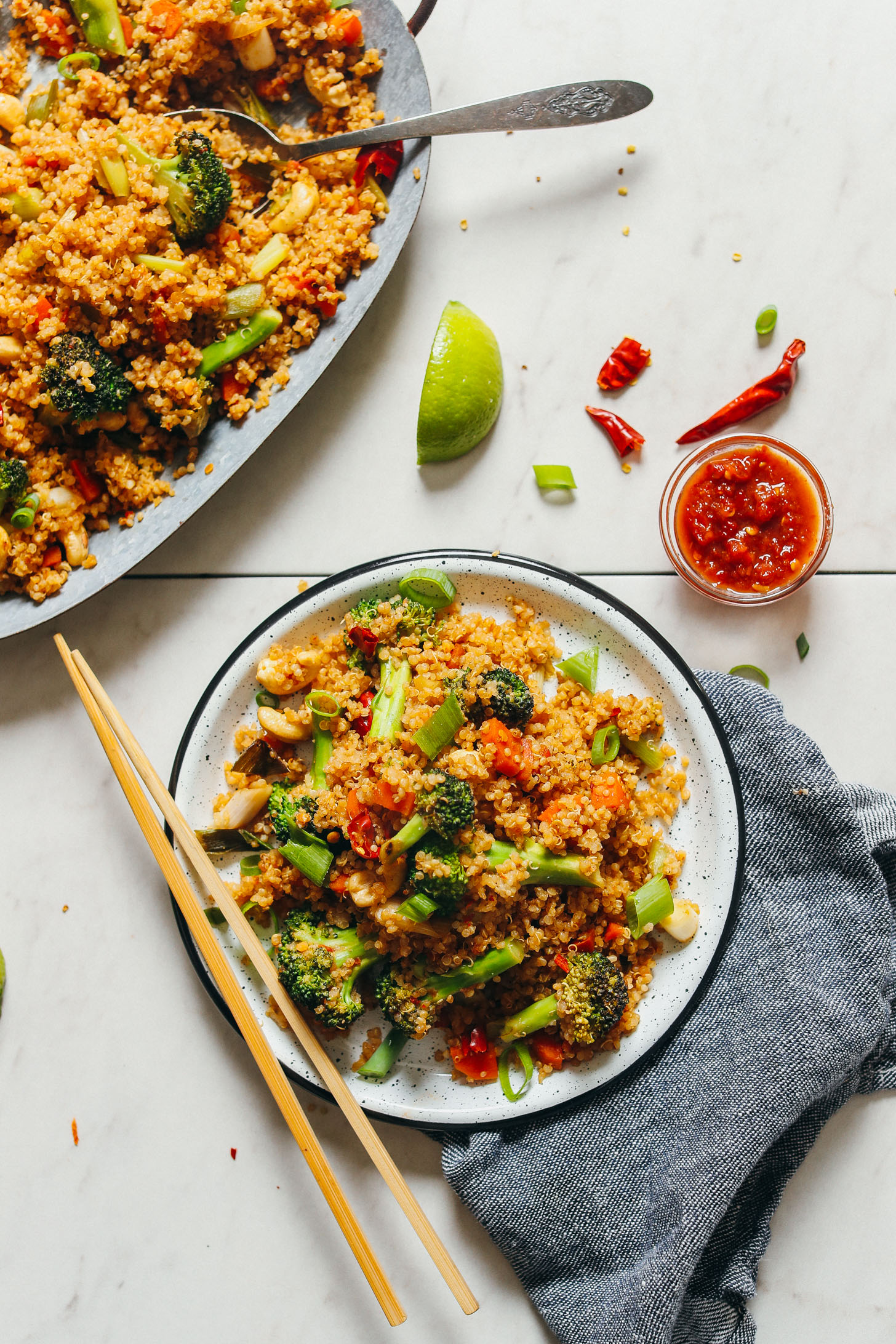Close up serving plate of vegan quinoa fried rice