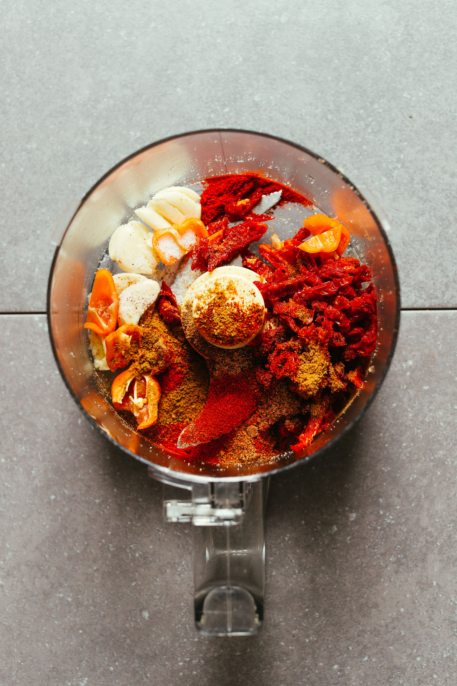 Food processor with Mexican spices and flavors for making Vegan Taco Meat