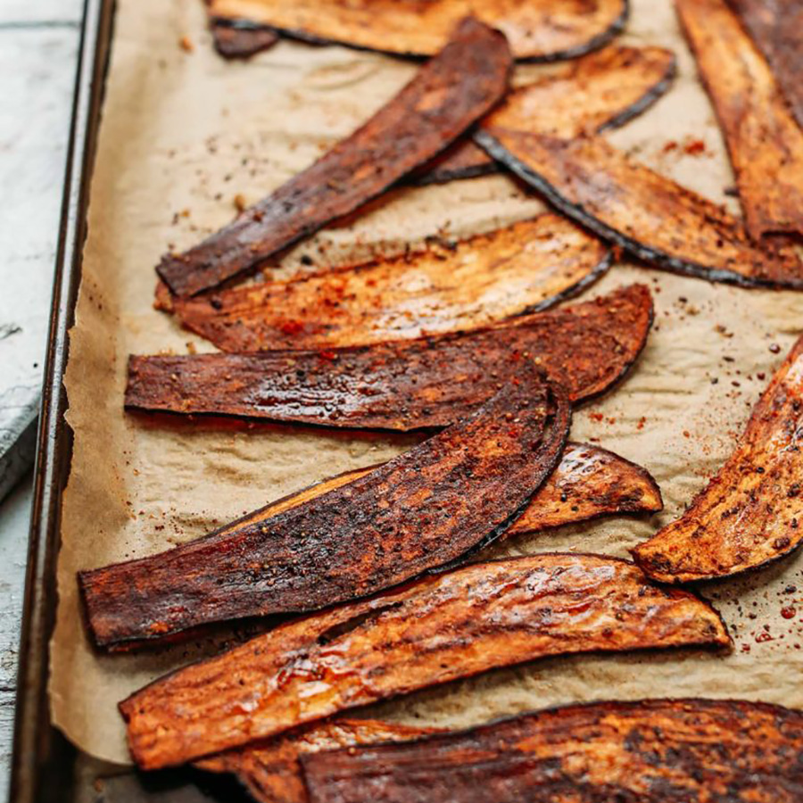 Crispy Eggplant Bacon fresh out of the oven on butcher paper