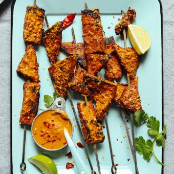 Skewers of our delicious gluten-free vegan Lemongrass Tempeh Satay recipe