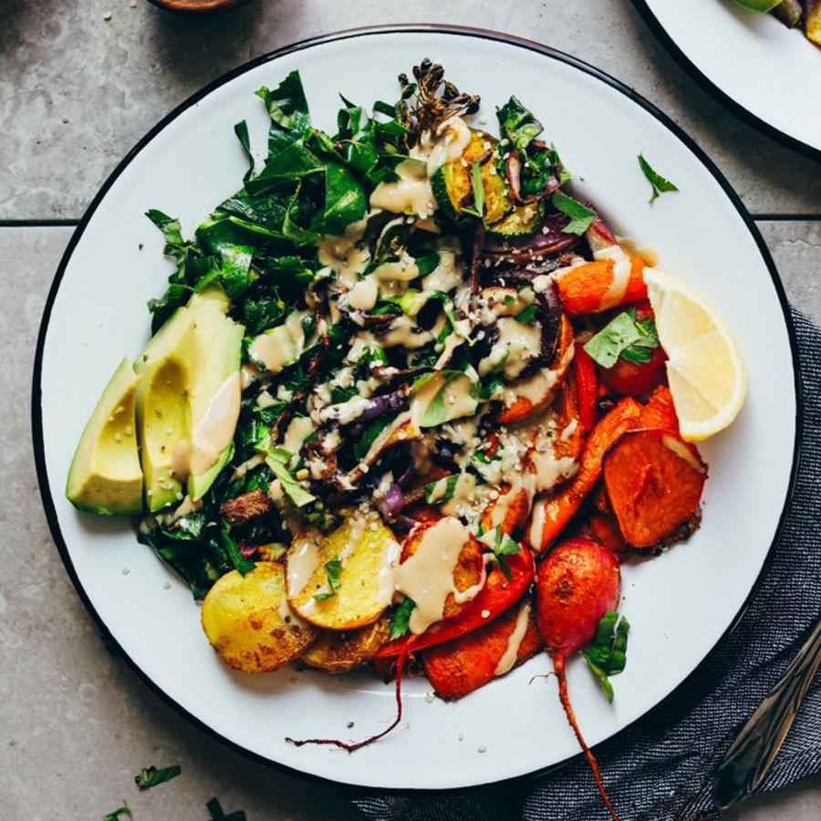 Roasted Rainbow Vegetable Bowl for a healthy Vegan Breakfast Recipe idea