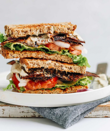 Stack of halved Vegan BLT Sandwiches for our Best Plant-Based Lunch Recipes roundup