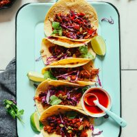 Platter filled with our Easy Jackfruit Tacos recipe for a delicious plant-based meal