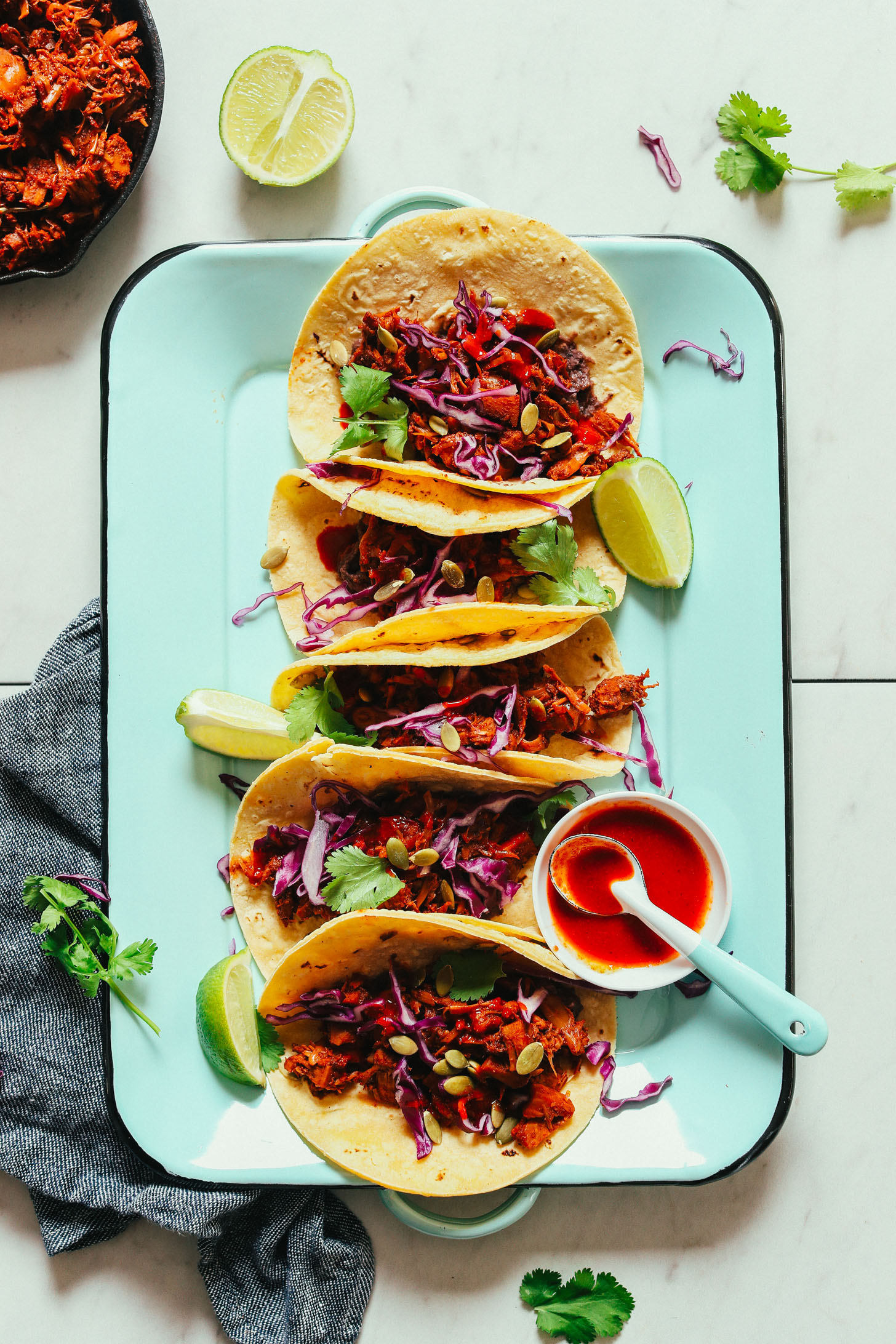 Platter of gluten-free vegan Jackfruit Tacos for an easy weeknight dinner