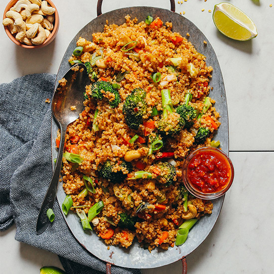 Plate of Vegan Quinoa Fried Rice