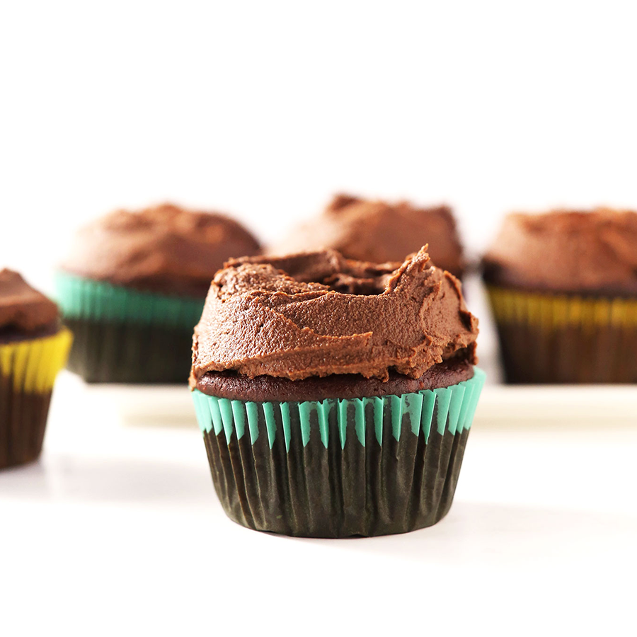 Chocolate cupcakes with chocolate frosting for our 28 Best Vegan Desserts roundup