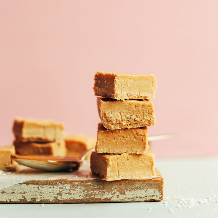 Stack of Peanut Butter Fudge squares for our roundup of the BEST Vegan Desserts