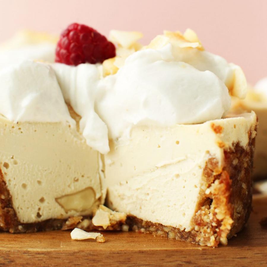 slice of white chocolate macadamia nut cheesecake