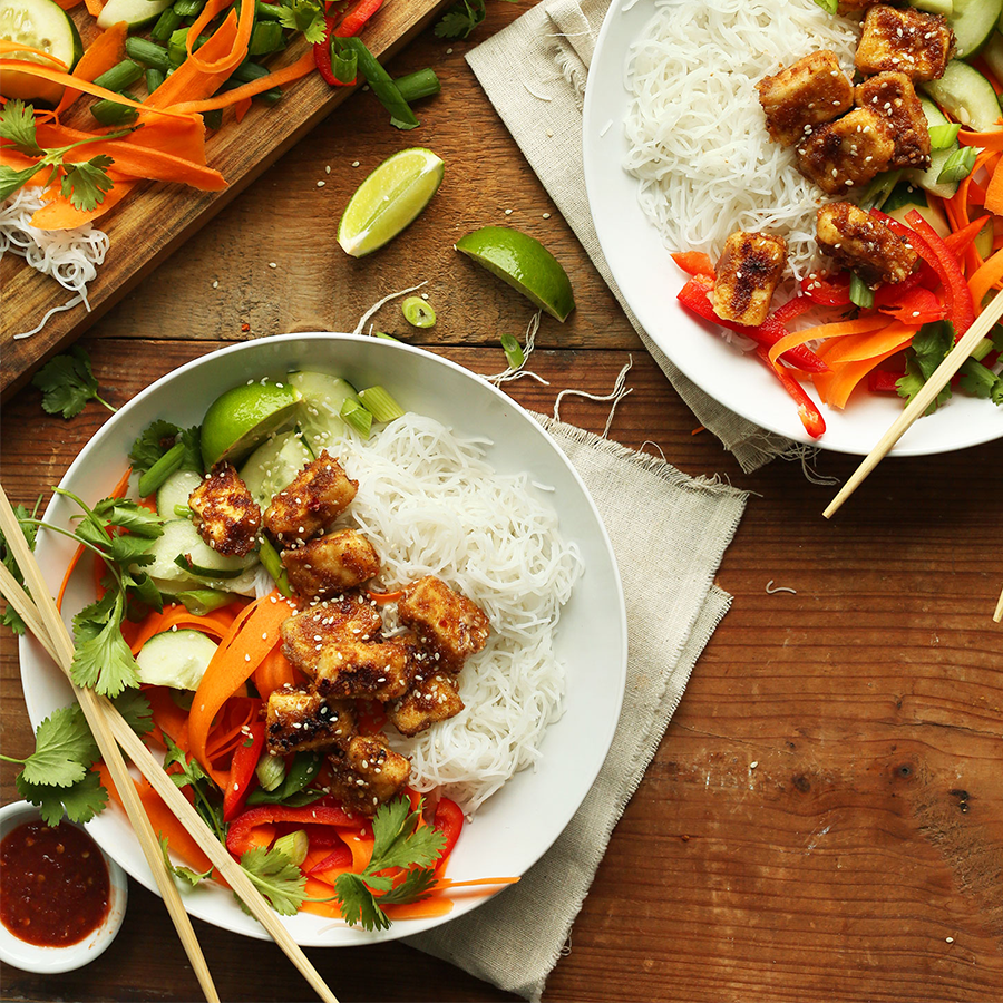 Bowls of our Thai Noodle Bowl recipe as one of our 10 BEST Tofu Recipes