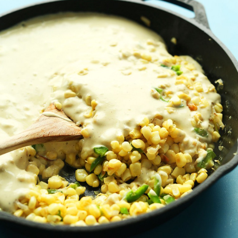 Skillet of fresh Corn Dip for an Easy Plant-Based Mother's Day recipe